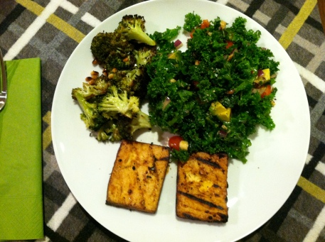 Chopped Kale Salad, Zesty Roasted Brocoli, and Grilled Tofu